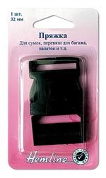 арт: 454.32.B. Пряжка для сумок, перевязи багажа черная 3,2 см.